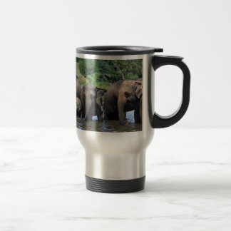 Asian elephants in river Sri Lanka Travel Mug