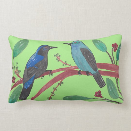 Asian Fairy Bluebrids Lumbar Pillow