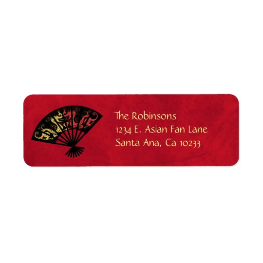 Asian Fan Return Label Stickers Return Address Label