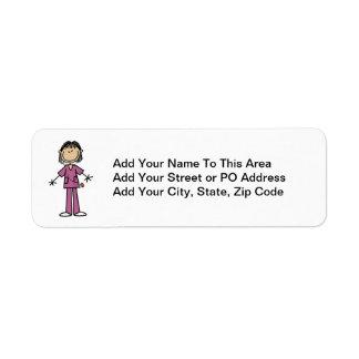 Asian Female Stick Figure Nurse Return Address Label