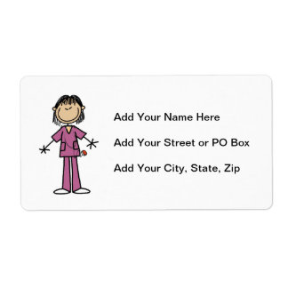 Asian Female Stick Figure Nurse Shipping Label
