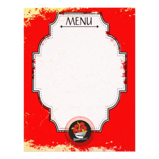 Asian fire bowl chopsticks menu letterhead