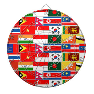 Asian Flags Dartboard With Darts