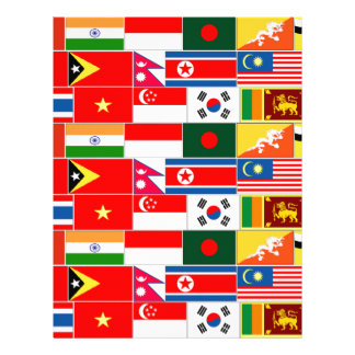Asian Flags Personalized Letterhead