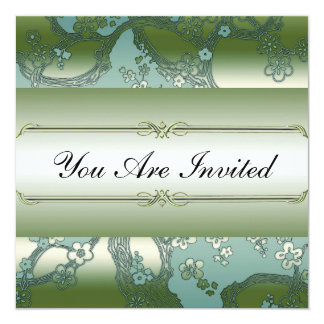 Asian Floral Green and Silver Party Invitations