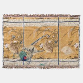 Asian Floral Pheasant Birds Wildlife Throw Blanket