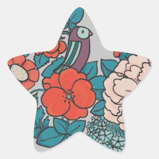 Asian flowers star sticker