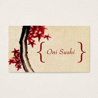 Asian Food Restaurant Business Card Red Vintage