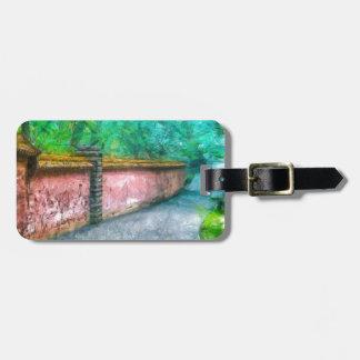 Asian Garden Wall Acadia Luggage Tag