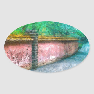 Asian Garden Wall Acadia Oval Sticker