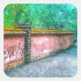 Asian Garden Wall Acadia Square Sticker