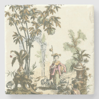 Asian Garden with Woman and Animals Stone Coaster