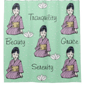 Asian Girl in Pink Mauve Kimono White Lotus Water