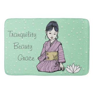Asian Girl in Pink-Mauve Kimono White Lotus Water Bath Mat