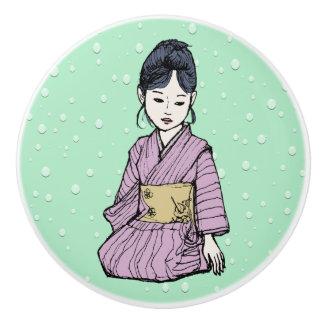 Asian Girl in Pink-Mauve Kimono White Lotus Water Ceramic Knob