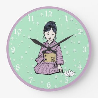 Asian Girl in Pink Mauve Kimono White Lotus Water Large Clock