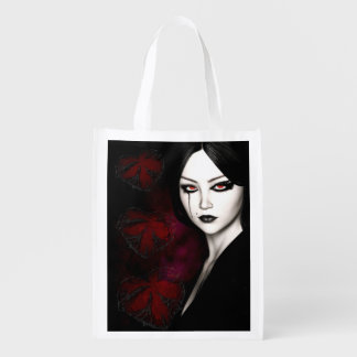 Asian gothic reusable grocery bag