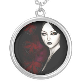 Asian gothic silver plated necklace