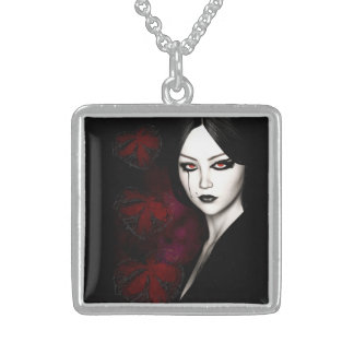 Asian gothic sterling silver necklace