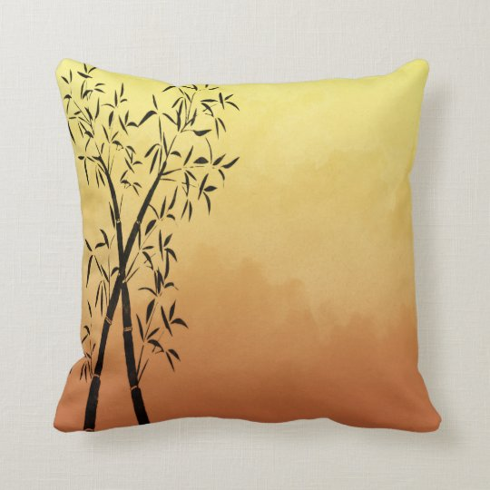 Asian Inspired Bamboo and mountain view Sunset Throw Pillow