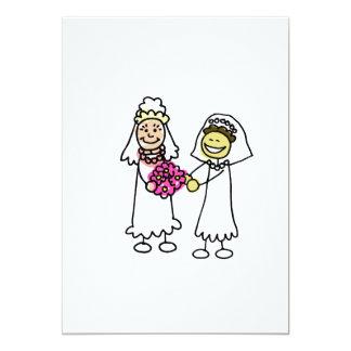 "Asian interracial Lesbian Wedding Bride 5"" X 7"" Invitation Card"