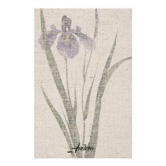 Asian Iris Flower Leaves Linen Look Stationery