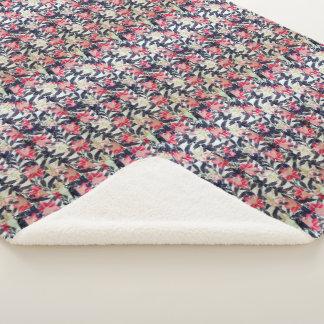 Asian Japanese Kimono Lily Flowers Sherpa Blanket