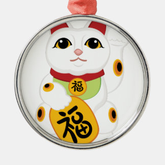 Asian Kitty Silver-Colored Round Ornament