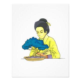 asian lady tending bonsai tree bluish.png invitations