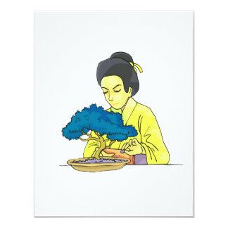 "asian lady tending bonsai tree bluish.png 4.25"" x 5.5"" invitation card"