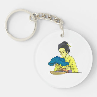 asian lady tending bonsai tree bluish.png Double-Sided round acrylic keychain