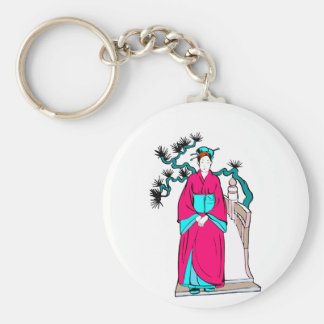 Asian lady with bonsai tree behind her basic round button keychain