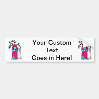 Asian lady with bonsai tree behind her car bumper sticker