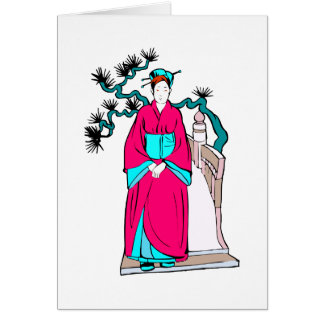 Asian lady with bonsai tree behind her cards