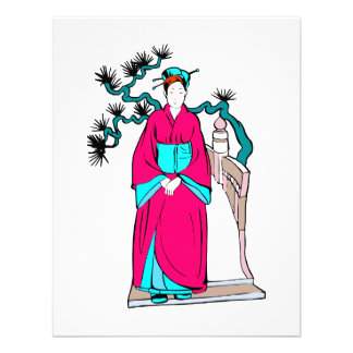 Asian lady with bonsai tree behind her invite