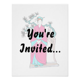 Asian lady with bonsai tree behind her invites
