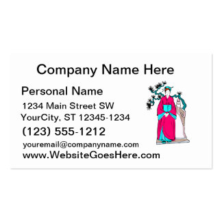 Asian lady with bonsai tree behind her pack of standard business cards
