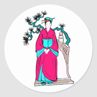 Asian lady with bonsai tree behind her round sticker