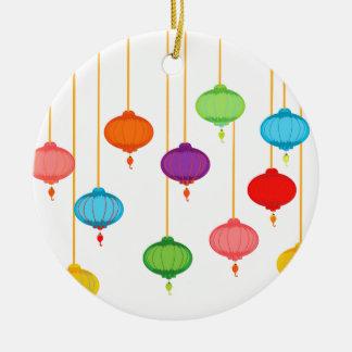 asian lanterns round ceramic ornament