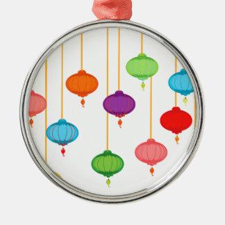 asian lanterns Silver-Colored round ornament