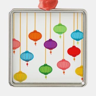 asian lanterns Silver-Colored square ornament