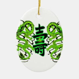 Asian Long Life Green Dragon PNG Ceramic Ornament