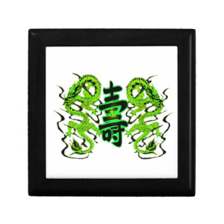 Asian Long Life Green Dragon PNG Gift Box