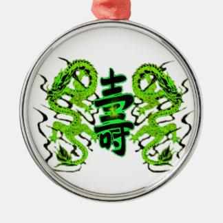 Asian Long Life Green Dragon PNG Metal Ornament