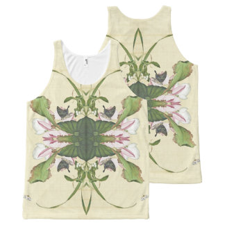 Asian Lotus Flower Butterflies Waterlily Tank Top