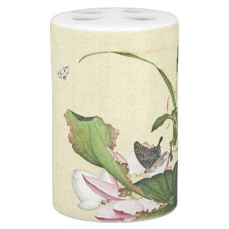 Asian Lotus Flower Butterfly Water Garden Bath Set