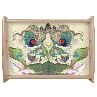 Asian Lotus Flower Pheasant Birds Serving Tray