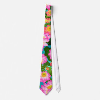 Asian Lotus Flowers Tie