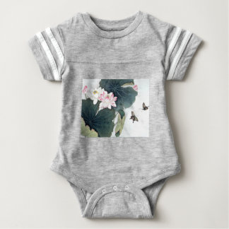 Asian Lotus Leaf Pink Flower Butterfly Art Cool Baby Bodysuit