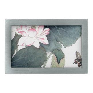 Asian Lotus Leaf Pink Flower Butterfly Art Cool Belt Buckles